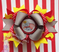Dumbo Hair bow Disney headband girl over the top boutique hair bow bottle cap Disney vacation hair bow Christmas gift girls cute Halloween on Etsy, $7.50