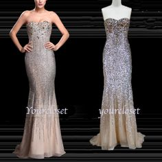 Each of our dress are made to order by hand  Dress code:Y0029  Fabric: Lace, satin Embellishment: Sequins, rhinestones Straps:Strapless Sleeves:Sleeveless Fashion: Ball gown Back: Zipper up Color: See picture  Size: 2,4,6,8,10,12, Custom-made  Each of dress may take 15-20days for pr...