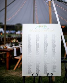 A Seating Chart - Lana and Danny's Homespun Colorado Wedding
