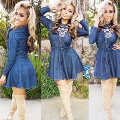 Sassy Girl Denim Dress – Come on.Denim is a must for the fall & winter season and this dress is so adorable and fashionable. Wear it how it is or pair it with tights and a heel. Sexy Dresses, Cute Dresses, Dress Outfits, Fashion Dresses, Cute Outfits, Denim Skater Dress, Girls Denim Dress, Denim Dresses, Skater Dresses