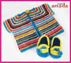 "Studio Amoda latest crochet project - Colourful "" Happy Baby"" Vest"