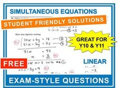 Ideal for gcse revision this worksheet contains exam type questions that gradually increase in difficulty.. This sheet covers linear simultaneous equations.. These review sheets are great to use in class or as a homework.. They are also excellent for one to one tuition and for interventions.. This navigation system is still under development.. This means that most of the links on this page are not yet active.. I will be working hard over the next couple of weeks to upload relevant resources…