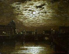 Mondnacht Über Berlin / Moonlit Night Over Berlin, 1900, Ernst Lorenz-Murowana. Germany (1872 - 1939) Berlin, Love Art, Moonlight, Still Life, Trees, War, Landscape, Nature, Photos