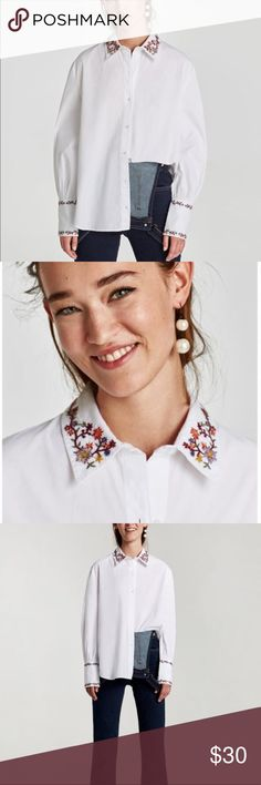 Zara Oxford Shirt w/ Embroidered Collar and Cuffs Beautiful spin on the classic white button down shirt. Flowers are embroidered on the collar and both of the sleeve cuffs. Never worn! New without tags. It was a gift and isn't really my style. Zara Tops Button Down Shirts