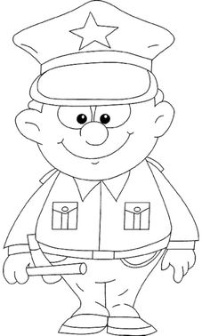 A Strong Policeman Coloring For Kids