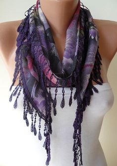 Dark Purple and Pink Scarf with Trim Edge by SwedishShop on Etsy, $12.90