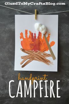 Handprint Campfire - Kid Craft - Glued To My Crafts