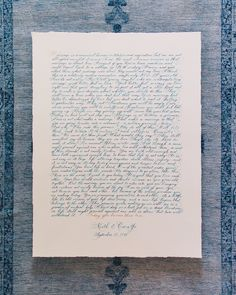 Wedding vows hand written on watercolor paper Wedding Calligraphy, Wedding Stationery, Wedding Invitations, Our Wedding Day, Wedding Vows, Hand Written, Scripts, Watercolor Paper, Ribbons