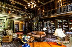 The house features a two-storey library designed in the style of the Vanderbilt mansion