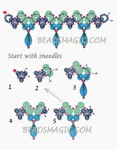 Free pattern for necklace LINA | Beads Magic. Use: seed beads 11/0, pearls 6mm, rondelle beads 6mm, crystal drops. Page 2 of 2