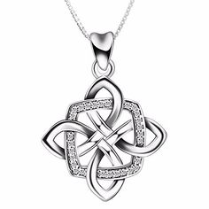 Bling Jewelry 925 Sterling Silver Celtic Love Knot Heart Necklace 18in