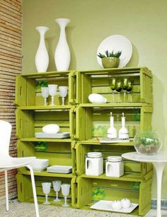DIY Wooden crates wall shelving system storage space recycling ideas