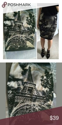 "MODCLOTH EIFFEL Tower Pencil Skirt  SMALL new! This rare piece hardly seen...a stretch knit pin up sexy pencil graphic Parisian skirt with printed Eiffel tower in black and nude with some grayish tones. Its an amazing piece to add to your wardrobe. The length is 22"" long. Waist Measures 25 can stretch nicely to 30. Hips measure 34 can stretch nicely ton 39. In excellent condition! One of a kind!? Cotton lycra blend. Modcloth Love Culture Size S/M ModCloth Skirts Midi"