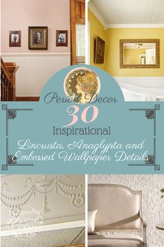 30 Inspirational Lincrusta, Anaglypta and Embossed Wallpaper Details Anaglypta Wallpaper, Embossed Wallpaper, Hotel Foyer, Eggshell Paint, Stained Glass Door, Hallway Walls, Gloss Paint, Linoleum Flooring, How To Get Warm