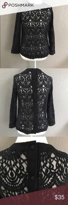 Banana Republic Black Lace Top Absolutely gorgeous top, my favorite purchase on Posh so far. Love the button down feature in the back! Sadly, it is too small for me. Fits like a small/med. please let me know if you have questions! Banana Republic Tops