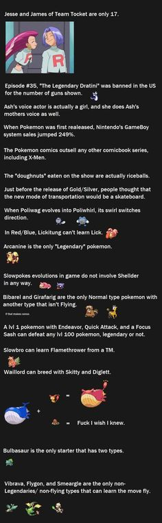 Pokemon Facts 4. The Jesse and  James one totally threw me off! I was NOT expecting that one!!!
