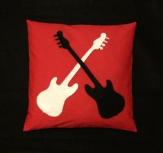 Rock & Roll Guitar Pillow Cushion Cover Red White by BeUniqueBaby