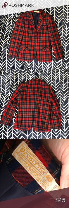 """Red plaid Pendleton blazer Woman's size 14 red plaid Pendleton blazer. Very light wear. No pilling, fading, holes or stains. I believe, do to the appearance of the size and style tag, this is older and may be vintage. Satin lined. The chest measures 20"""" flat across, the underarm sleeve length is 16"""" the waist is 17 1/2"""" flat across and this is 27"""" long from the tag. Pendleton Jackets & Coats Blazers"""