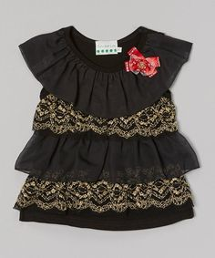 Loving this Black & Gold Bow Ruffle Top - Infant, Toddler & Girls on #zulily! #zulilyfinds