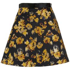 Sportmax Code Women's Eva Skirt - Yellow ($70) ❤ liked on Polyvore featuring skirts, mini skirts, yellow, high waisted a line skirt, high-waist skirt, floral skater skirt, high waisted floral skirt and short mini skirts