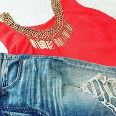 Outfit flatlay with a gold chain statement necklace. It's on sale! #ootd #flatlay