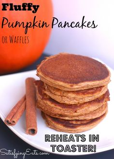 Fluffy Pumpkin Pancakes. Delicious and full of flavor! Make a few batches for the weekand reheat in your toaster. www.satisfyingeats.com