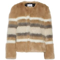 Ainea Striped faux fur coat (14.145 RUB) ❤ liked on Polyvore featuring outerwear, coats, jackets, верхняя одежда, beige, fake fur coats, imitation fur coats, brown faux fur coat, brown coat and stripe coat