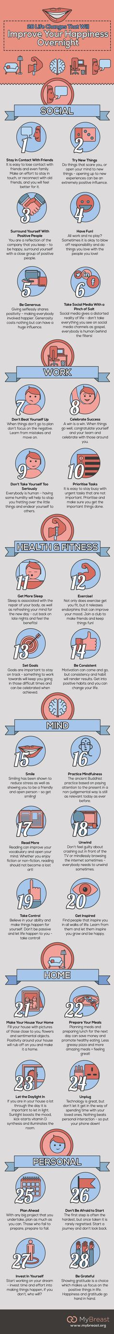 28 Life Changes That Will Improve Your Happiness Overnight #infographic