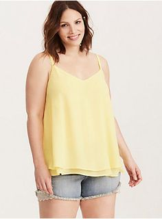 "<div>This eye-popping sunshine yellow cami is working double time with a sexy v-cut front and back. Cut with two floaty, semi-sheer, and swingy chiffon layers, this cami is a dressy upgrade from your everyday tanks.</div><div><br></div><div><b>Model is 5'9.5"", size 1 </b></div><div><ul><li style=""list-style-position: inside !important; list-style-type: disc !important"">Size 1 measures 29 1/2"" from shoulder</li><li style=""list-style-position: inside !important; list-style-typ..."
