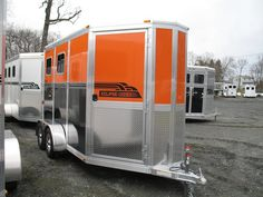 Orange horse trailer. I just remembered our custom-made 4-horse gooseneck (in the early 70s) was orange! It was painted to match my mom's Chevy truck; the truck  was orange with faux wood sides. They called that set-up the Great Pumpkin when it rolled into the horse shows. Good times! Livestock Trailers, Horse Trailers, Horse Transport, Buy A Horse, Trailer Organization, Dream Barn, Horse Stables, Trail Riding, Camping Survival