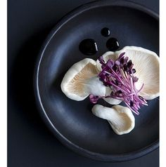 Photographie : food styling - Mushrooms on dark plate — Doswell & McLean For Bloom Magazine Think Food, Love Food, Food Styling, Dark Food Photography, Photography Styles, Dessert, Mets, Food Presentation, Food Design