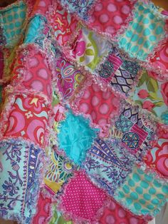 Baby rag quilt with turquoise pink green by laughingcrickets, $55.00