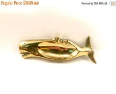 SPRING SALE Brass whale Vintage Brass fish Ashtray solid brass
