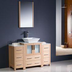 "Fresca Torino 48"" Light Oak Bathroom Vanity w/ 2 Side Cabinet Soft Closing Doors"