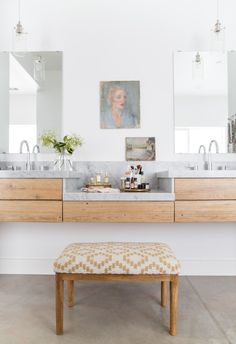 Grove House: Salvaged Wood and Marble Vanity