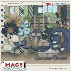 SUMMER BREEZE Collection - a fresh and beautiful seaside kit.  Available at Gingerscraps  (as well as MagsGraphics.com, MyMemories, and Scraps-N-Pieces).