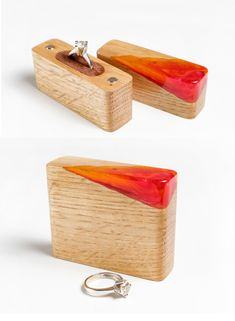 Unique wood and resin ring holder. Wooden Ring Box, Wooden Jewelry Boxes, Direct Mailer, Proposal Ring Box, Resin Furniture, Wedding Ring Box, Resin Ring, Wood Rings, Diy Home Crafts