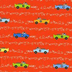 dc6097 scribble cars automobiles racing cars kids boys tamara kate les monsieurs clementine tangerine orange soft top