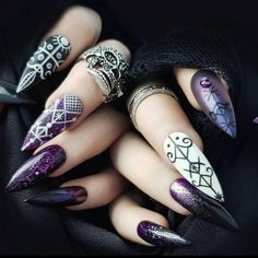 The Best Nail Art Designs – Your Beautiful Nails Witchy Nails, Goth Nails, Stiletto Nails, Coffin Nails, Purple Nail Designs, Nail Art Designs, Dark Nail Designs, Nails Design, Nail Art Diy