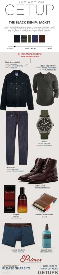 black denim jacket gray henley brown boots thursday boots dstld jeans - men's fall fashion outfit ideas