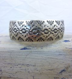 Vintage Native American Stamped Sterling Silver Cuff Bracelet. Terrific Tribal Rug Pattern. Stacks Well w Others