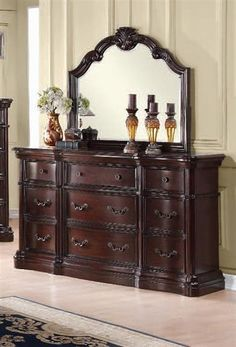 Veradisia Traditional Dark Cherry Black Wood Glass Dresser And Mirror