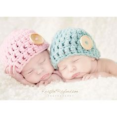 Baby Button Hat for Twins Crochet Newborn Photo Prop ($34) ❤ liked on Polyvore
