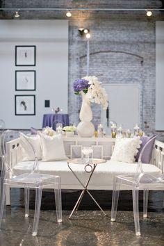 Lavender Industrial-Glam Atlanta Wedding at King Plow from Lemiga Events - MODwedding Lounge Party, Wedding Lounge, Mod Wedding, Wedding Seating, Purple Wedding, Wedding 2015, Chic Wedding, Wedding Reception, Wedding Venues