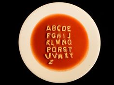 Playful alphabet soup creating messages.