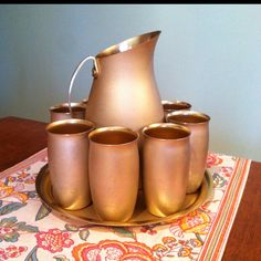 1930s 'Mirro Aluminum Co' water pitcher, cups, and tray. Would be great for lemonade in the summer!