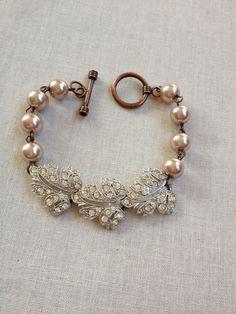 Repurposed vintage Art Deco pave rhinestone link and blush pearl bracelet, weddings, jewelry, bracelet, gifts for women, bridal, copper