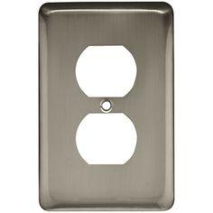 Switchplates I - Brainerd Stamped Steel Round Single Duplex Outlet in Satin Nickel - Liberty Hardware 64115