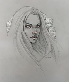 Sketch. Girl with roses by sashajoe.deviantart.com on @deviantART