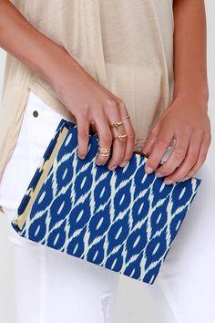Ikat Ya Lata Blue Print Clutch at Lulus.com!